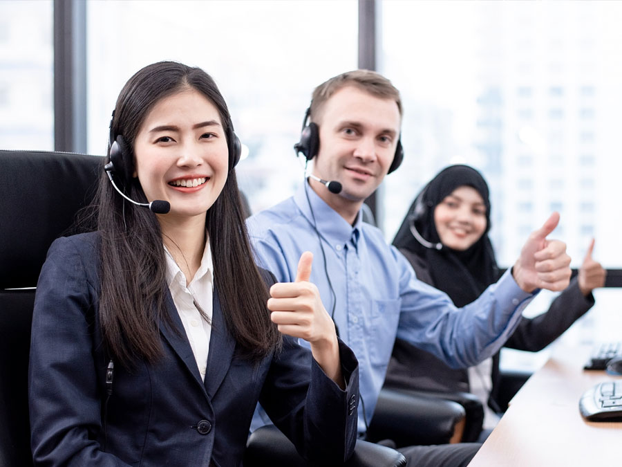 diverse multilingual call center team