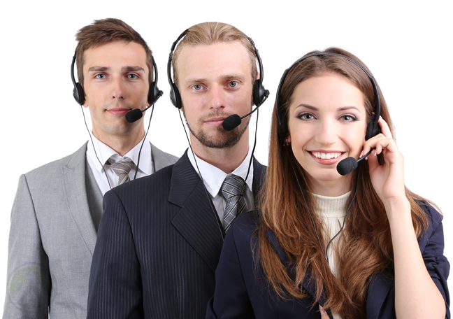 smiling-business-team-on-customer-service-calls