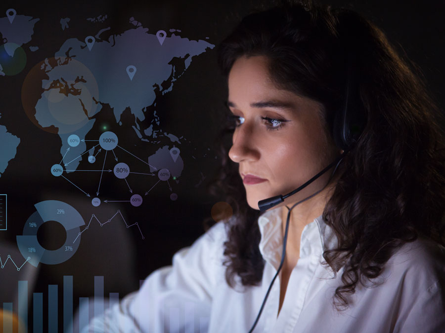 busy call center agent working with database