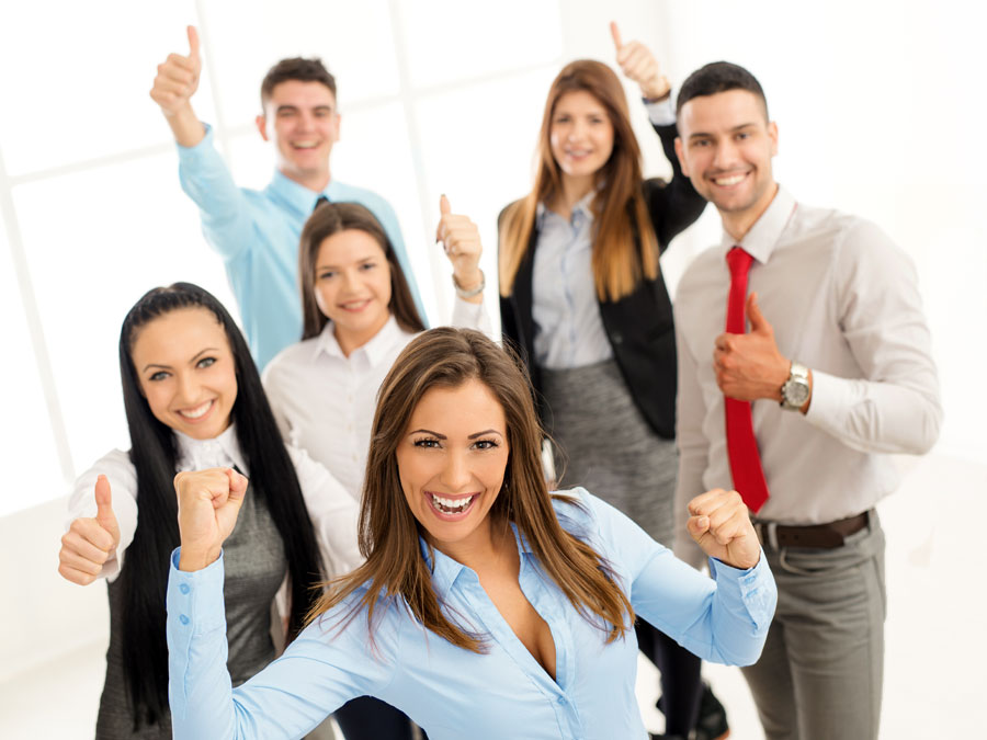 excited happy call center agents giving thumbs up