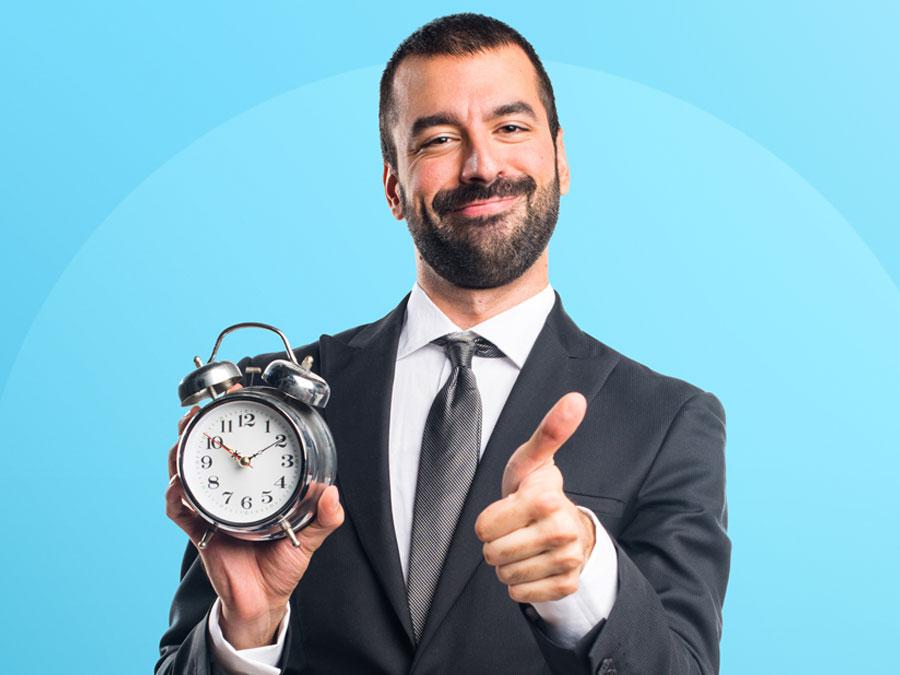 happy business executive customer service call center alarm clock thumbs up