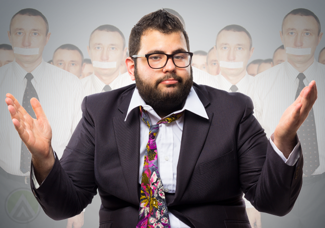 bored-bearded-businessman-surrounded-by-employees-with-taped-mouths