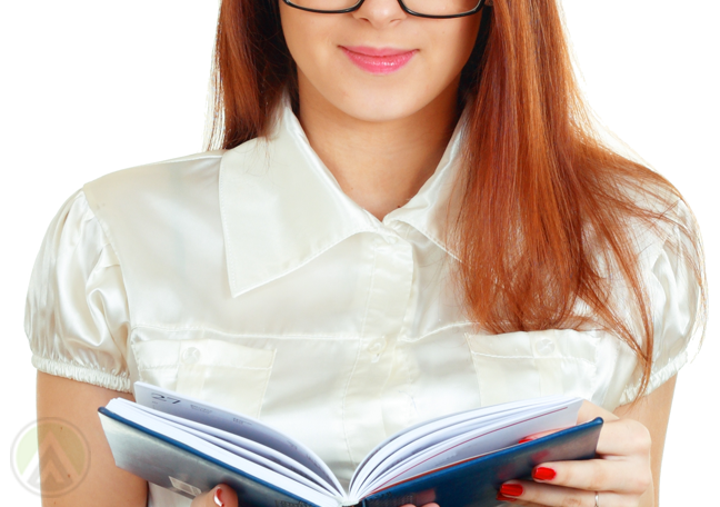female-employee-in-glasses-reading-book