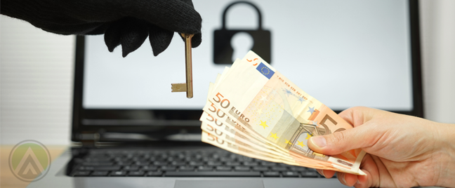 hand-holding-euros-money-to-gloved-theft-with-key-laptop-in-back