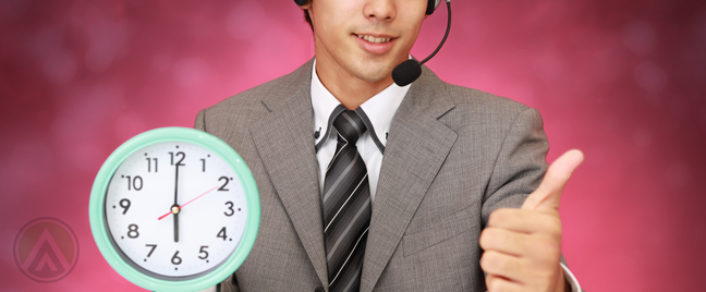 customer-service-agent-holding-wall-clock-thumbs-up