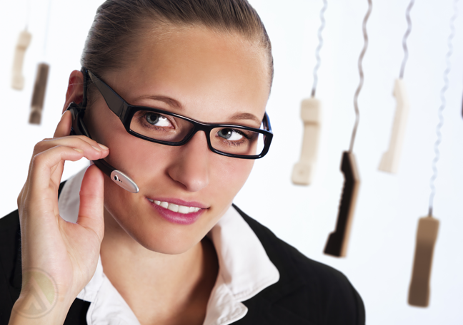 female call center agent with hanging phones
