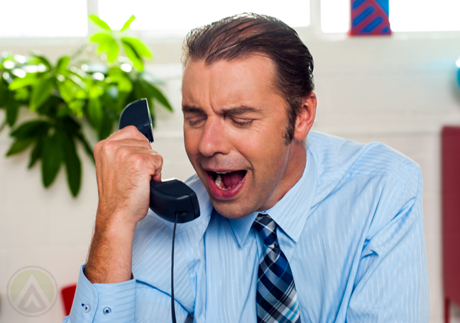 frustrated businessman phone call
