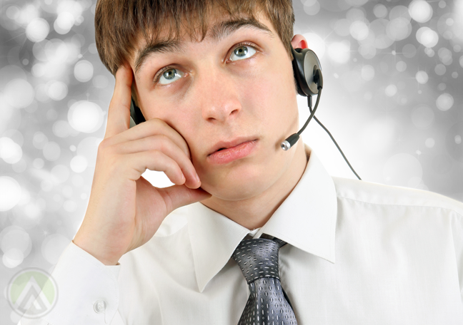 male-call-center-agent-thinking-deeply-looking-up