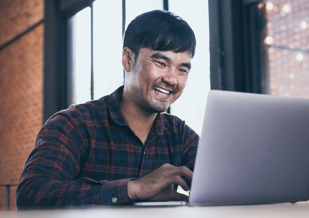 smiling consumer satisfied happy with branded customer experience self-service