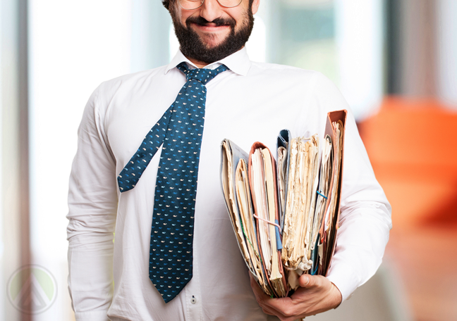smiling excited office employee holding document folders