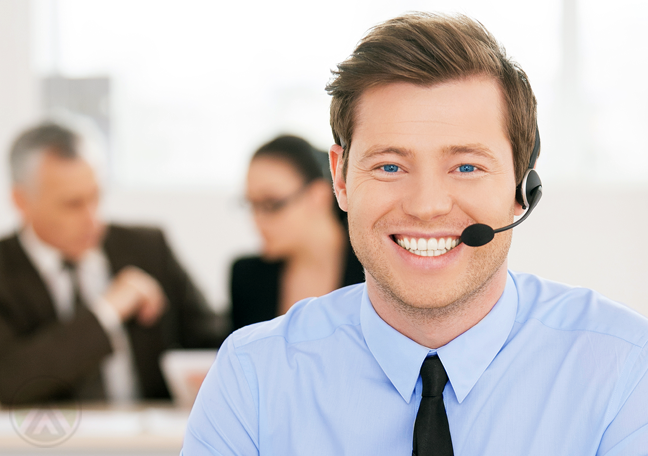 smiling male customer service agent client in the back