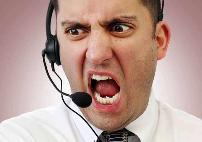 angry screaming customer service agent