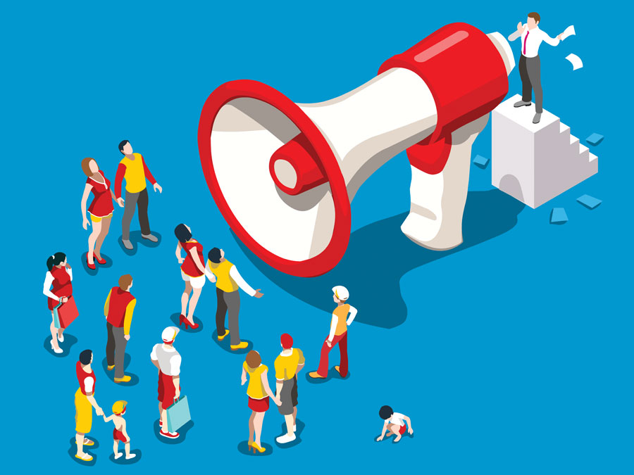 businessman brand customer support agent speaking to demographic with bullhorn megaphone