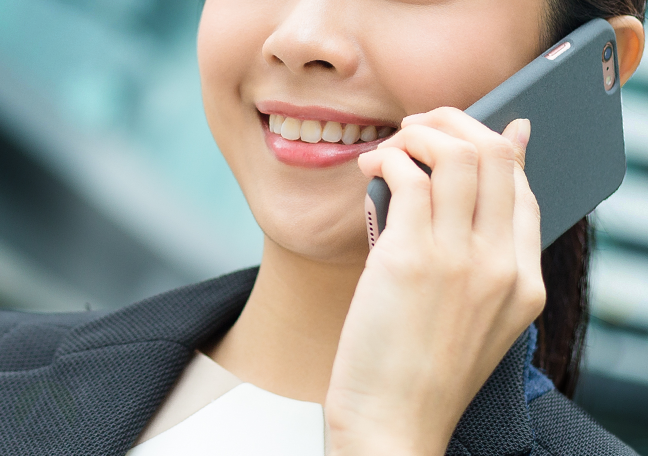 close up woman on call smartphone