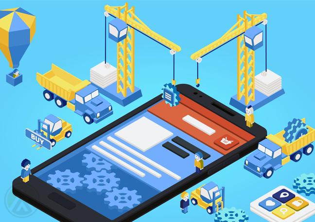 construction-crew-trucks-constructing-smartphones
