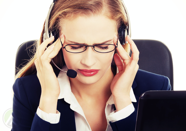 customer service representative with a headache