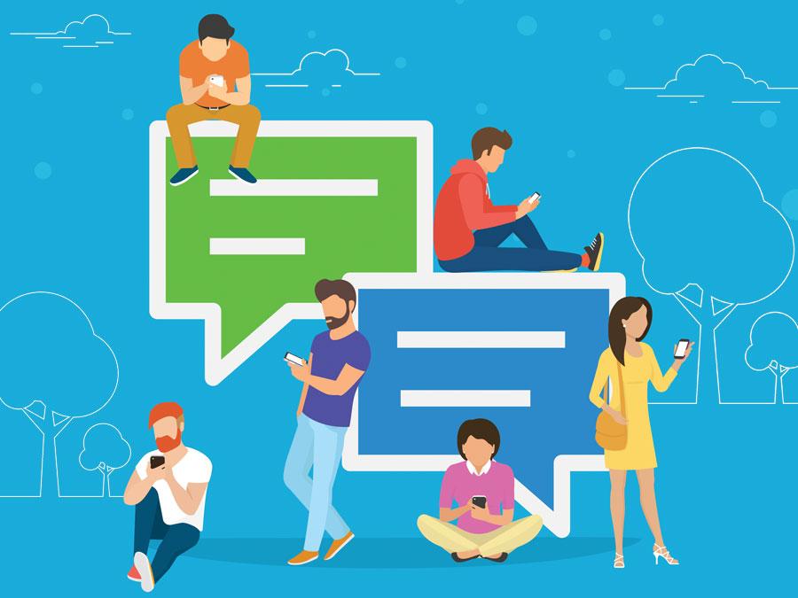 customer service team talking to customers on social media app
