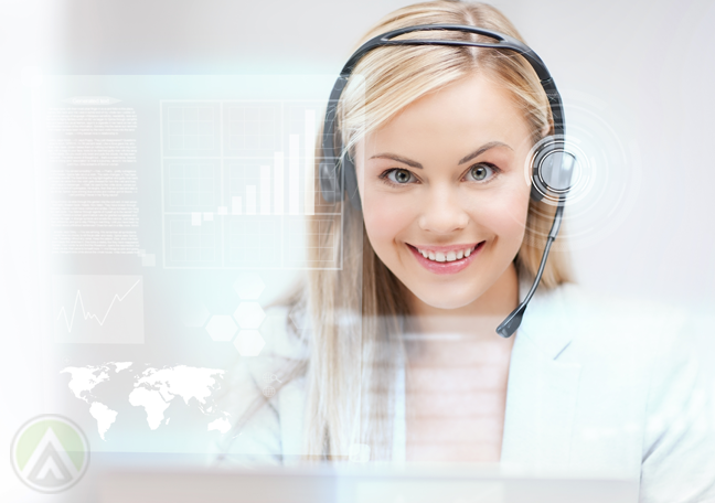 delighted call center agent with global map software virtual interface