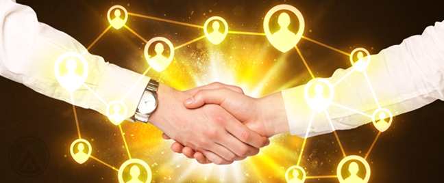 handshake surrounded by social media user icons