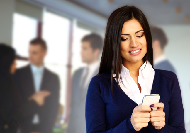 woman in business networking responding to message on smartphone