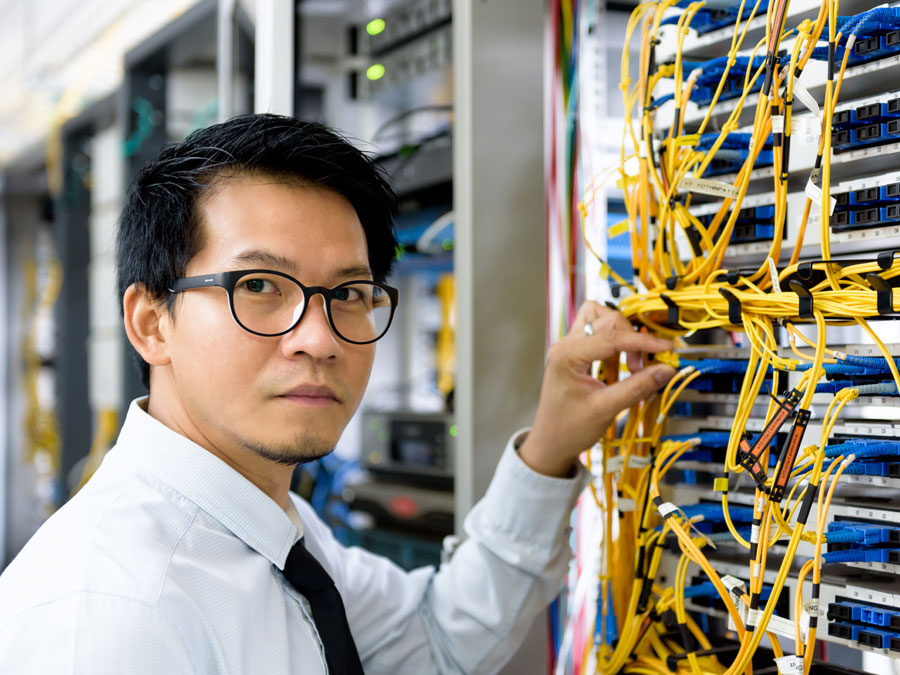 IT manager working in the data center