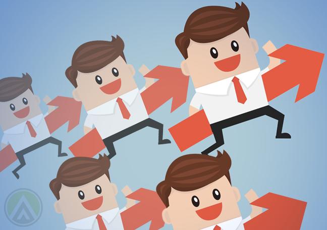 businessmen jumping holding orange arrows