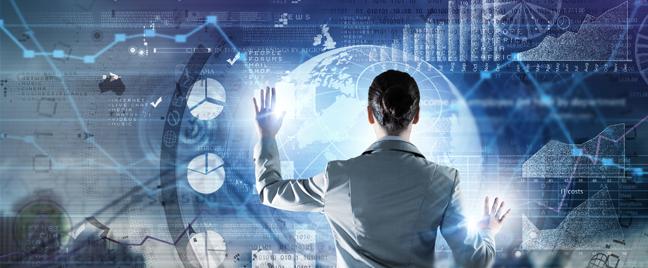 businesswoman accessing virtual data