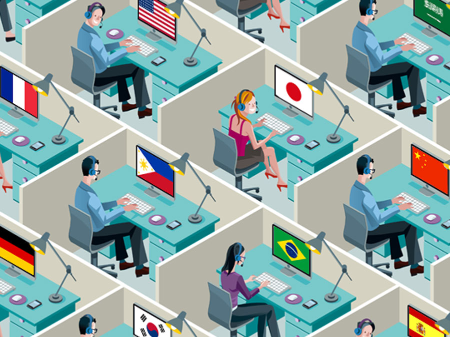 crowded ecommerce office cubicles with multilingual employees and country flags