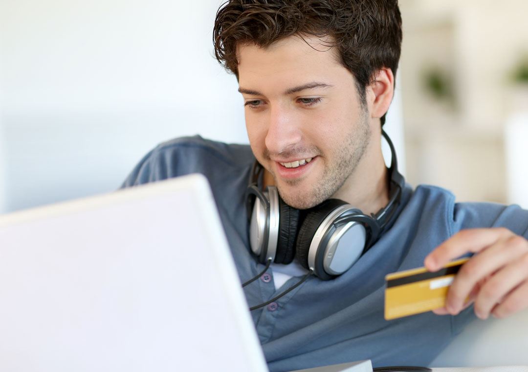 customer loyalty depiction buying in online shopping holding credit card