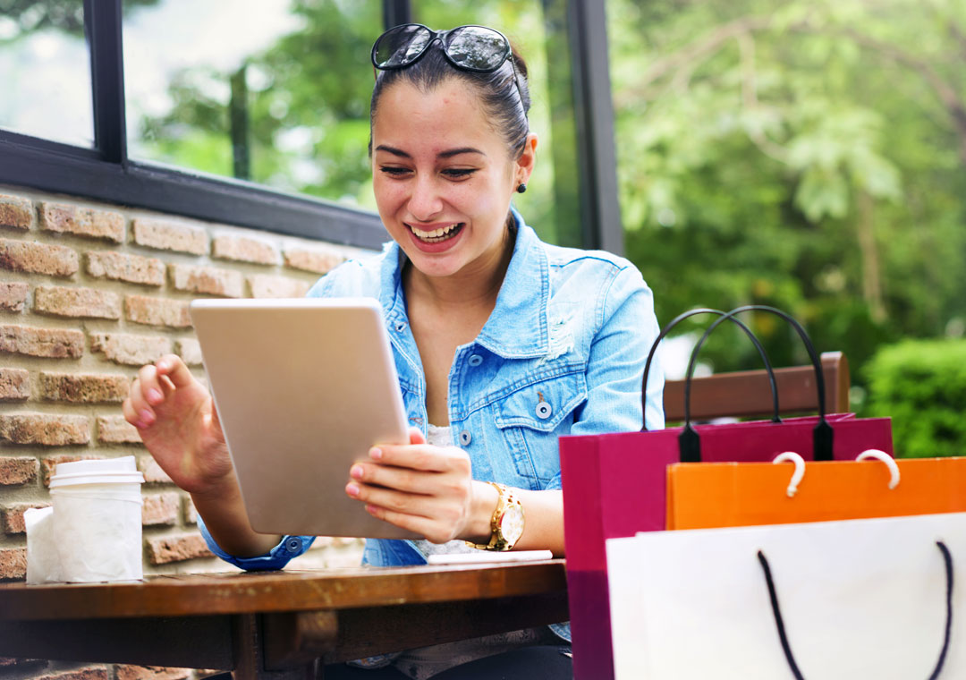 customer loyalty depiction woman shopping online ecommerce store in coffee shop