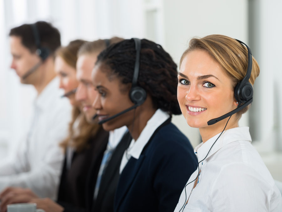 customer service agent with multilingual call center coworkers