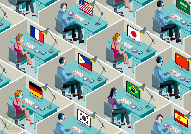 customer service agents in call center cubicles with different country flags on computer screens
