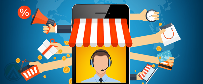 ecommerce concept smartphone store with customer service agent on screen