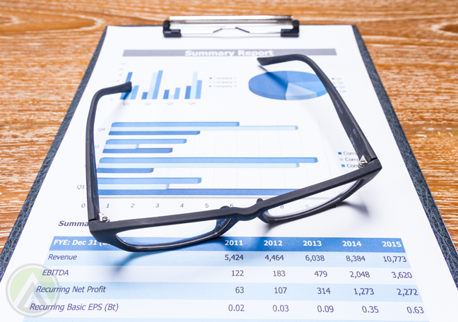 eye glasses on clipboard of document reports charts graphs