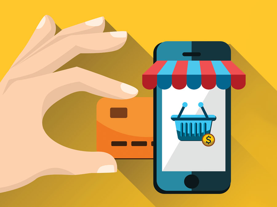hand inserting credit card into smartphone showing ecommerce