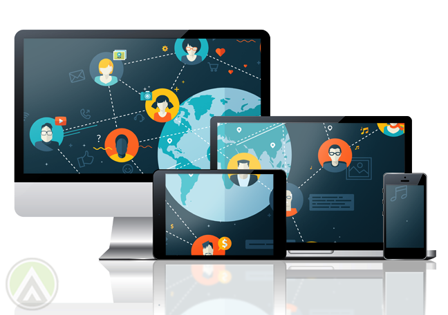 multiple screens imac laptop tablet smartphone sharing social media image