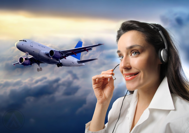 smiling customer service representative with blue sky airplane in background