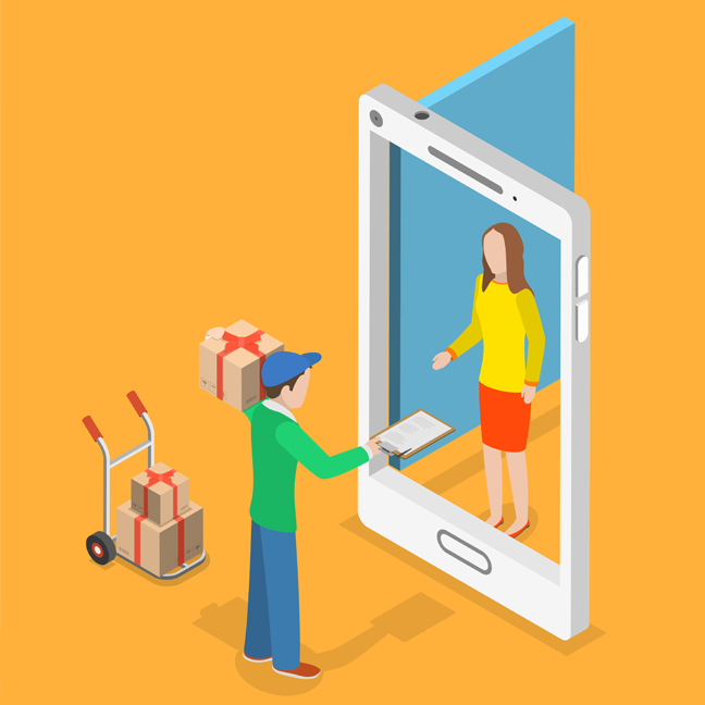 delivery from ecommerce over smartphone