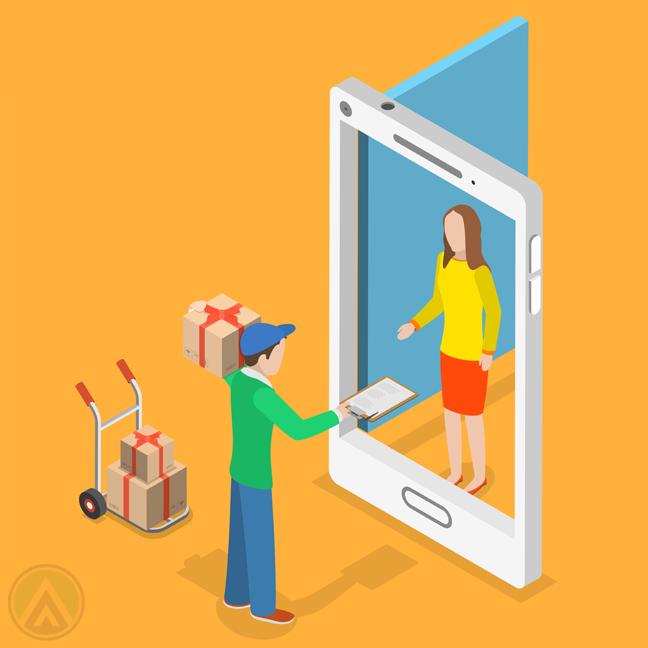 woman receiving delivery through door smartphone screen