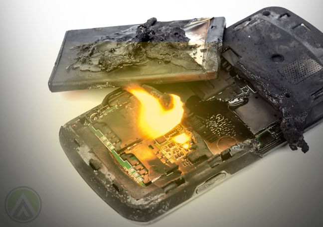 burning smartphone battery