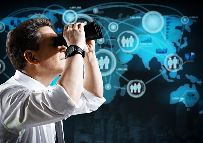 businessman looking through binoculars at world map