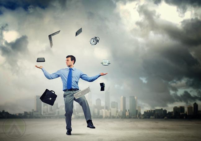 employee cloudy outdoors juggling computer office equipment