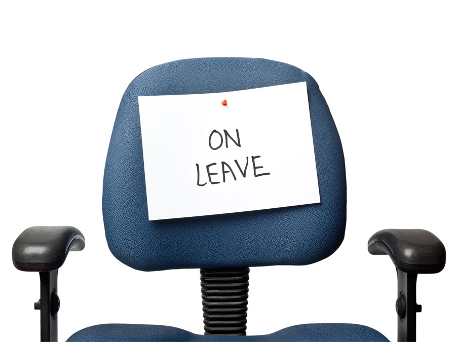 office chair with paper on leave