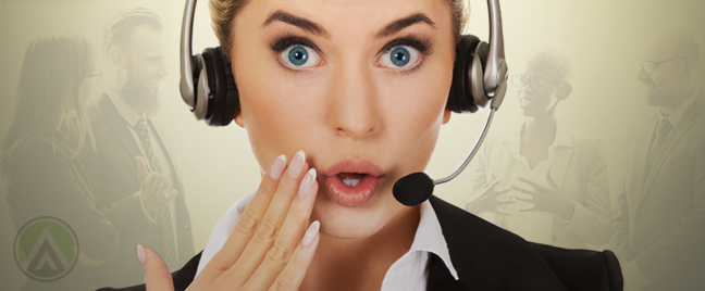 surprised call center agent with diverse-bosses talking in bell