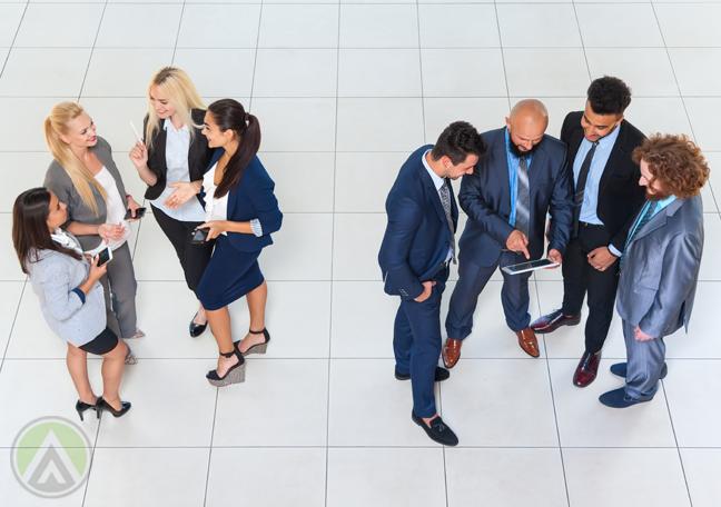 business people separate department teams