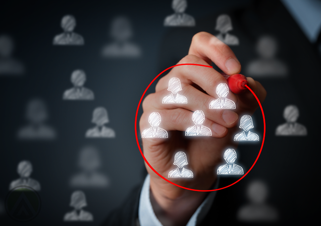 businessman writing red circle around human figures concept of CRM database