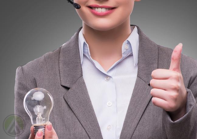 call center agent holding lightbulb