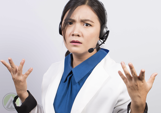 confused flabbergasted call center agent