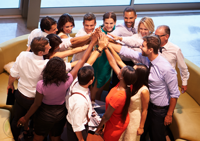 diverse business team hands together teamwork
