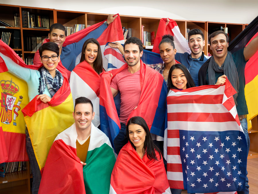 diverse young people with international flags